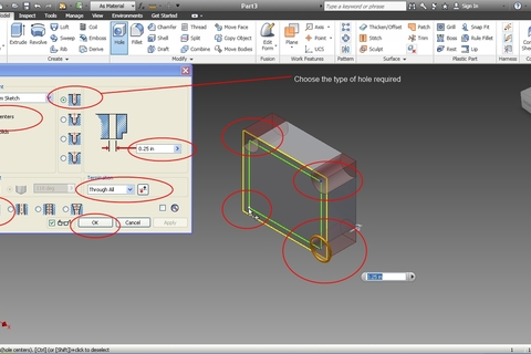 How to use holes wizard in Autodesk Inventor?